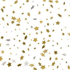 3d Star Falling Print. Gold Yellow Starry on white Background. Vector Confetti Star Background Pattern. Golden Starlit Card. Confetti Fall Chaotic Decor. Modern Creative Pattern.