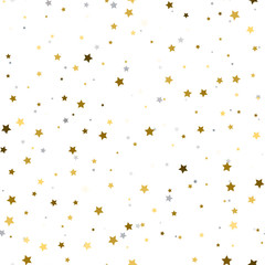 Holiday background, seamless pattern with stars. Gold and silver star confetti. Vector illustration.
