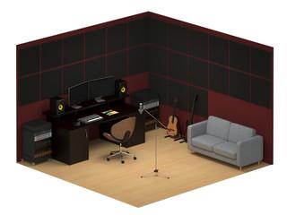 Music recording studio isometric isolated on white