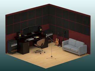 Music recording studio isometric
