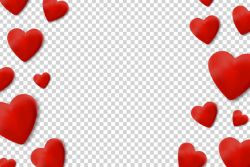 Vector Realistic Isolated Background With Hearts For Decoration And