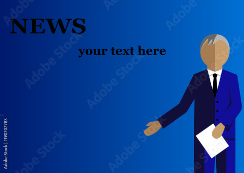 News Anchor On TV Breaking Background Flat Vector
