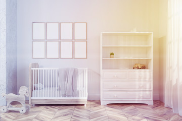 White nursery interior, poster gallery toned