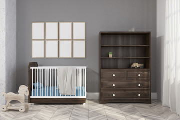 Gray nursery interior, poster gallery