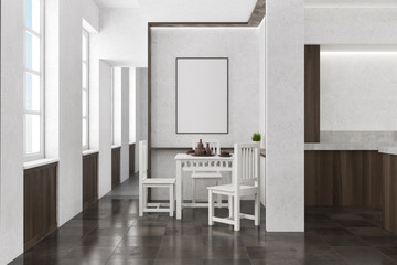 Concrete and wooden dining room interior, poster