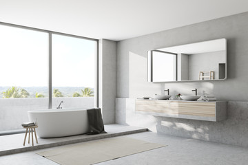 White bathroom interior, side view