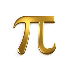 Pi Number Gold Mathematical Symbol. 3D Render Illustration