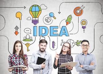 Diverse business team thinking, idea