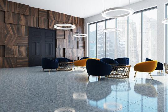 Dark wooden office waiting room corner