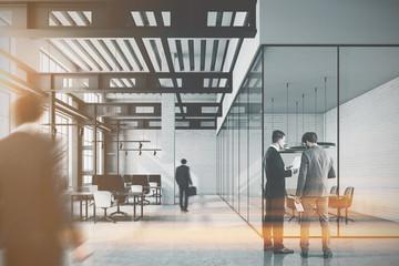 White brick loft office, meeting room toned