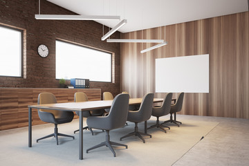 Brick and wood conference room interior