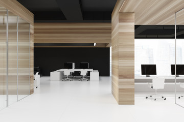Wooden office lobby with a black ceiling