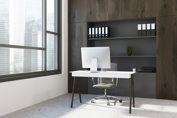 Dark wood office workplace corner