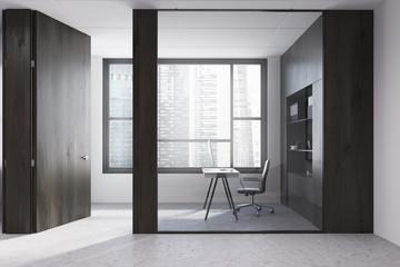 Dark wood office workplace interior