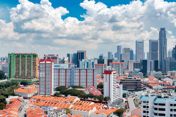 Singapore city skyline landscape at blue sky. Business Downtown and Chinatown districts. Urban skyscrapers cityscape