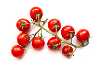Ripe cherry tomatoes on vine against a isolated white background