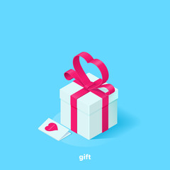 white gift box with a pink ribbon in the form of a heart and a greeting card on a blue background, isometric image