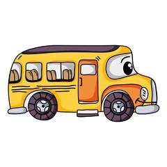 kawaii happy school bus transport