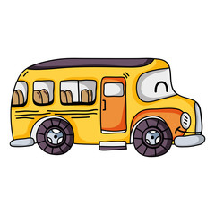 kawaii smile school bus transport