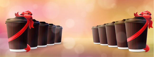 Coffee to Go Brown Ripple Cups with Red Ribbons