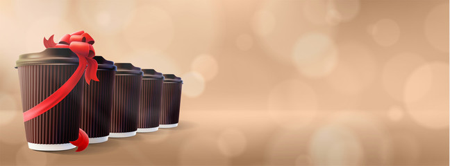 Coffee to Go. Ripple Cups with Gift Cup. Bokeh Cappuccino Background
