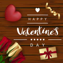 "Red heart with roses, gift boxes with a bow, gold ribbon on a background with wooden boards. Festive Inscription Lettering ""Happy Valentine's Day"". Vector. View from above."
