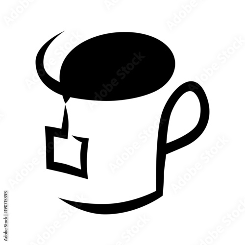 Abstract Tea Cup Symbol Icon On White Background Design Element