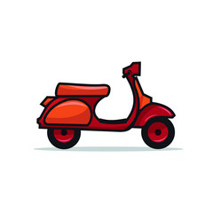 Red Scooter Vintage Logo and Illustration