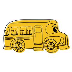 color kawaii happy school bus transport