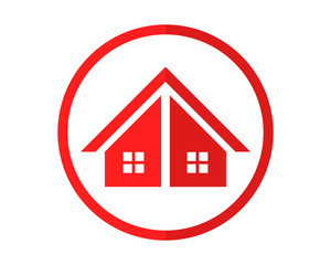 circle red house housing home residence residential residency real estate image vector icon 1