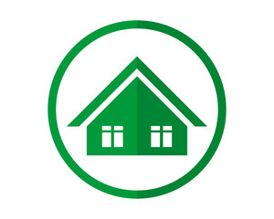 circle green house housing home residence residential residency real estate image vector icon 1