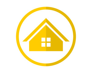 circle yellow house housing home residence residential residency real estate image vector icon 1