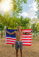 Attractive Man with American Flag