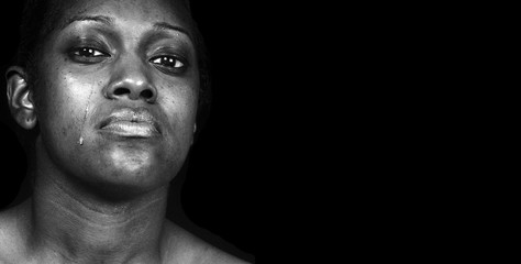 Sad Black Woman on Black  Crying