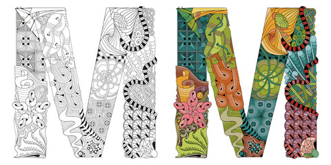 Letter M zentangle for coloring. Vector decorative object