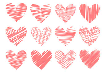 Pink isolated vector heart symbols