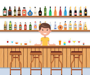 Bar with barman and cocktail