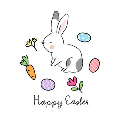 Vector illustration character design white rabbit with little element carrot flower and beauty eggs for Easter day Draw doodle cartoon style