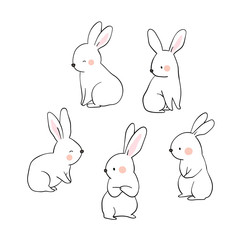 Vector illustration character design collection outline of cute rabbit Draw doodle cartoon style