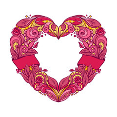 Ornamental wreath in a shape of a heart. Hand drawn graphic vector illustration.