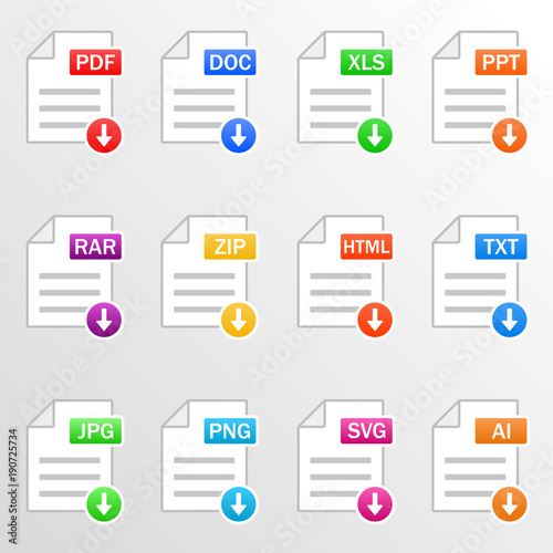 document files icon set download file formats pdf doc xls ppt