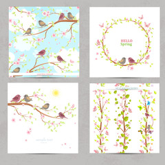 spring collection invitation cards with cute birds, nature seaml