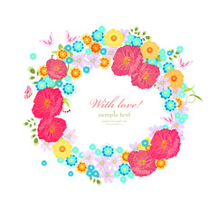 colorful wreath with meadow flowers and butterflies for your des