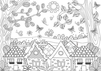 nature landscape with cozy houses for your coloring book
