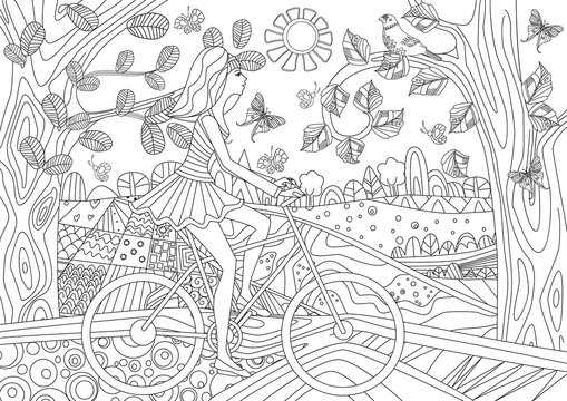 lovely girl is riding on a bicycle in forest scenery for your co