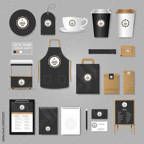 Corporate Identity Template Logo Concept For Coffee Shop Cafe - Menu mockup template