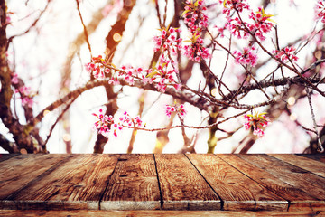 Wall Mural - Top of wood table empty ready for your product and food display or montage with pink cherry blossom flower (sakura) on sky background in spring season. vintage color tone.