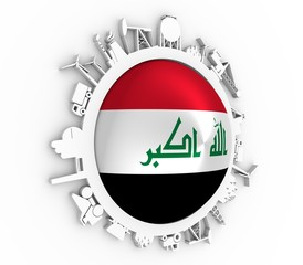 Circle with industry relative silhouettes. Objects located around the circle. Industrial design background. Flag of the Iraq in the center. 3D rendering