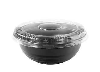 Black Plastic Bowl Clear Cap isolated on white background clipping paths