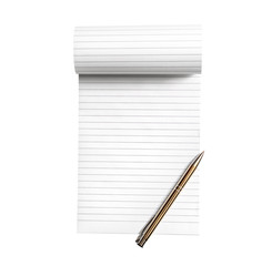 Blank notepad with pen isolated on white background.